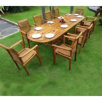 Wood En Stock - Salon de Jardin en Teck Table 3 mètres 10 fauteuils empilables