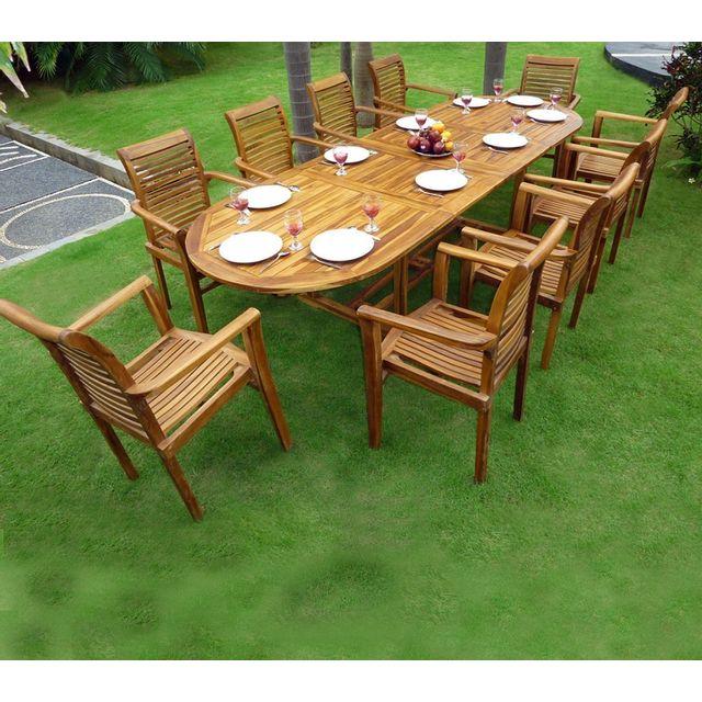 wood en stock salon de jardin en teck table 3 m tres 10 fauteuils empilables bois pas cher. Black Bedroom Furniture Sets. Home Design Ideas