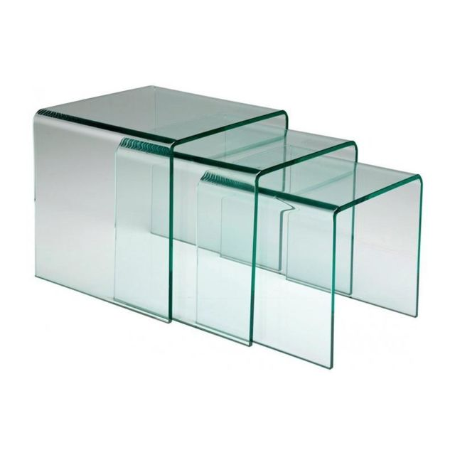 Inside 75 Lot de 3 tables gigogne Euphoria en verre