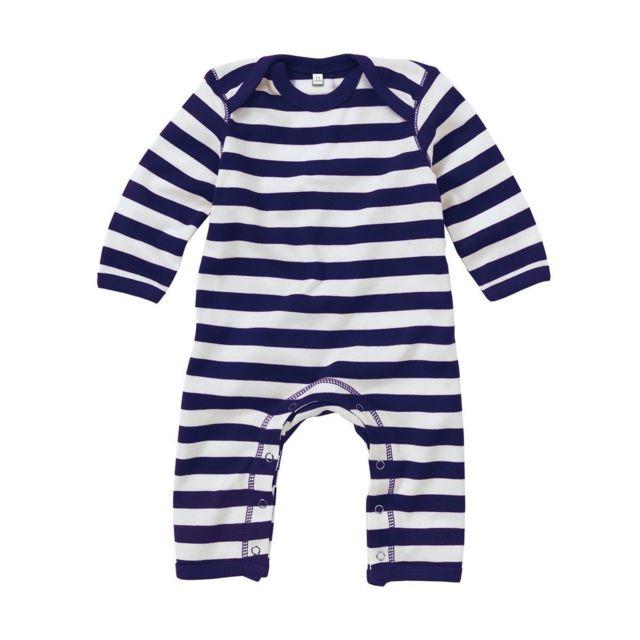 Babybugz - Grenouillère rayée bébé jambes manches longues - Bz13S - rayé  bleu 1d96b927519