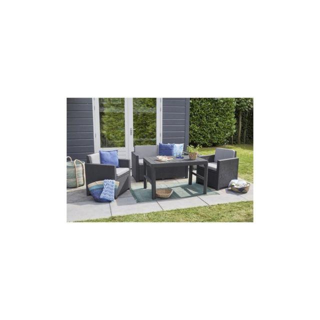 Allibert Salon de jardin Monaco Lyon 4 places - imitation resine tressee  avec table 2 positions - Graphite