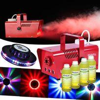 Ibiza Light - Machine à fumée 400W Lsm400LED-RED + Effet Ovni Leds Rvb + 4L Liquides
