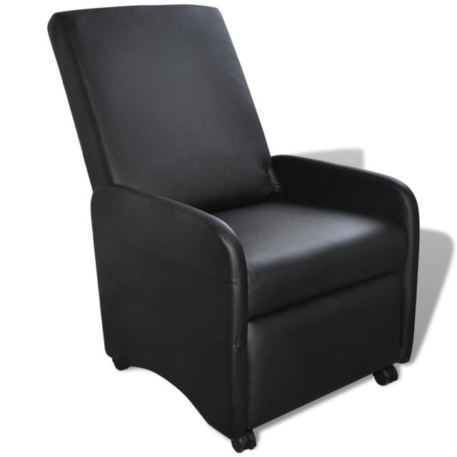 Vidaxl Fauteuil inclinable et pliable en cuir artificiel noir