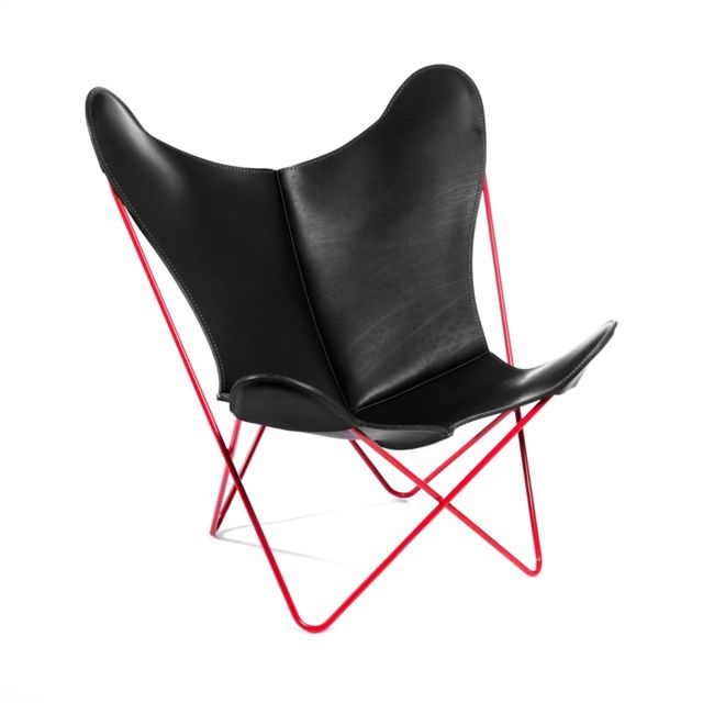 MANUFAKTURPLUS Butterfly Chair Hardoy - 80 ans édition spéciale - Édition speciale avec coutures noires - acier rouge