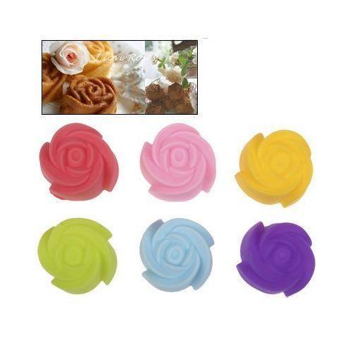 Yonis Moule cupcake et muffin en silicone forme de rose 6 pièces couleur