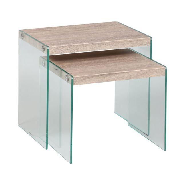 Tousmesmeubles Tables gigognes - Francisco - L 48 x l 35 x H 43