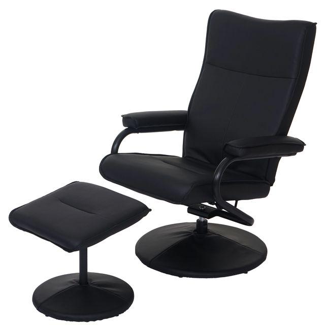 Mendler Fauteuil relax Leeds, fauteuil de télévision, avec tabouret, similicuir ~ noir