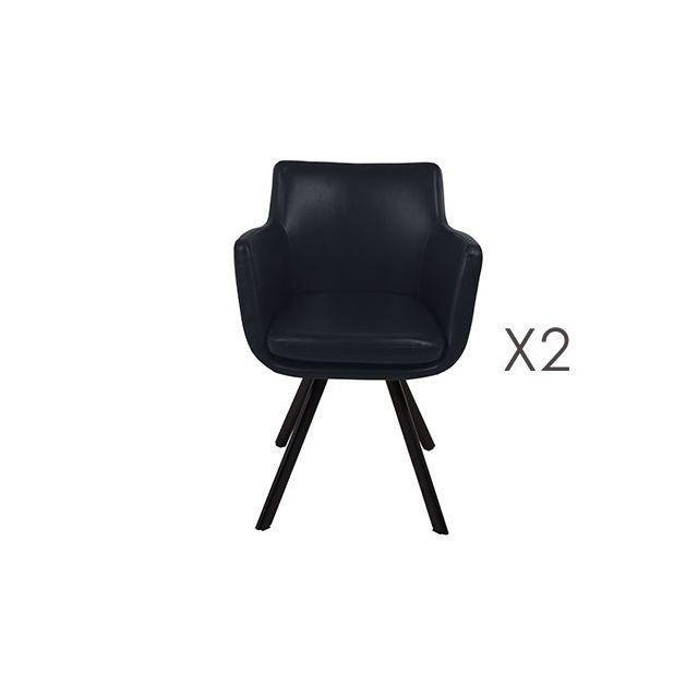Lot de 2 fauteuils repas en Pu gris foncé - Margot