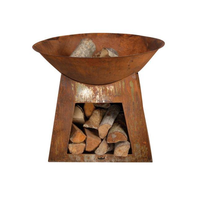 ESSCHERT DESIGN Cheminée Dextérieur Vasque Stockage Bois Petit - Modele de barbecue exterieur