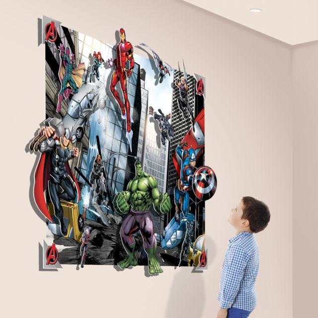 Walltastic Poster Xxl Avec Personnages En Relief Avengers Marvel