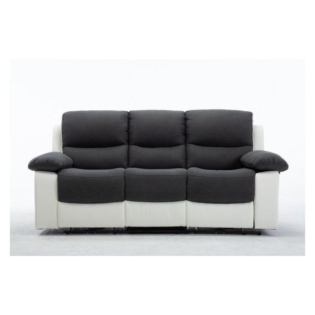 Moloo Keaton-canapé 3 places tissu gris et pu blanc 2 Relax électrique