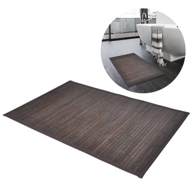 Vidaxl Tapis de bain 40 x 50 cm Bambou Marron foncé