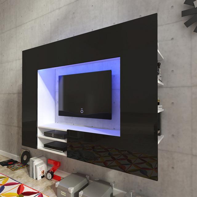 Vidaxl Unité murale de 169,2 cm en noir brillant pour Tv Led
