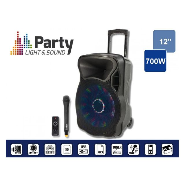 Party Light&sound Party-12LED Enceinte portable 12p/30cm - 700W avec usb, bluetooth, fm, et micro Vhf
