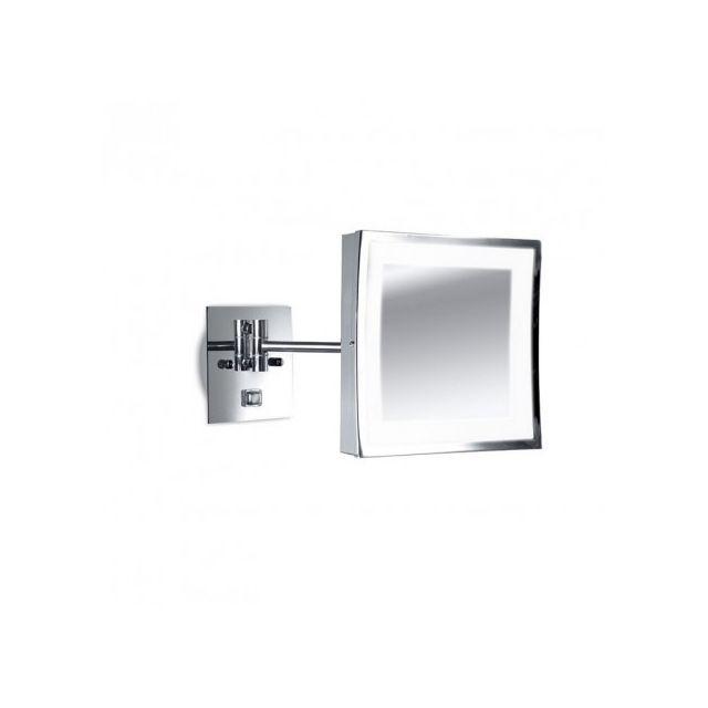 Leds C4 Miroir carré grossissant Vanity Ip44 H21 cm - Chrome