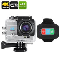 Shopinnov - Camera sports d'action 4K Wifi 170° 16MP Telecommande Zoom 4x Argent