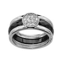 1001BIJOUX - Bague argent rhodié anneau céramique noir avec cabochon oxydes blancs sertis
