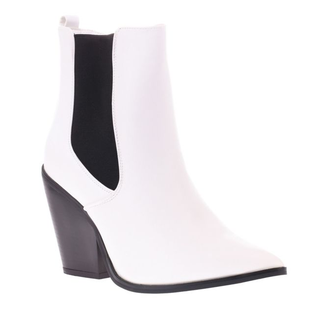 Bottines blanches style chelsea à bout pointu
