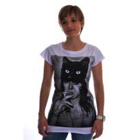 Spital fields london - Tee shirt black cat coton blanc M