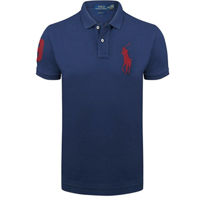 Ralph Lauren - Polo Custom-fit Bleu Marine Big Poney - pas cher ... ffea401e9eb