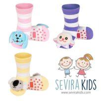 Sevira Kids - Lot de 3 paires de chaussettes d'éveil antidérapantes - 0/24 mois - pointure 19-21 - Rayé Girl