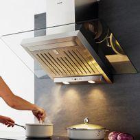Silverline - Hotte cuisine murale Atika inox et verre 90 cm