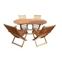 Salon De Jardin - Ensemble Table Chaise Fauteuil De Jardin Ensemble repas  de jardin pliable - table 160x85cm et 4 fauteuils - Bois et eucalyptus
