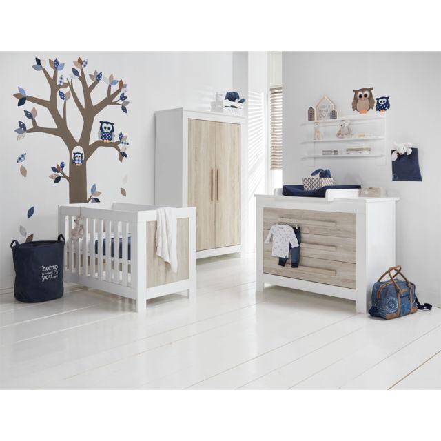 Twf Chambre complète lit bébé 60x120 - commode à langer - armoire 2 portes Parma - Bois