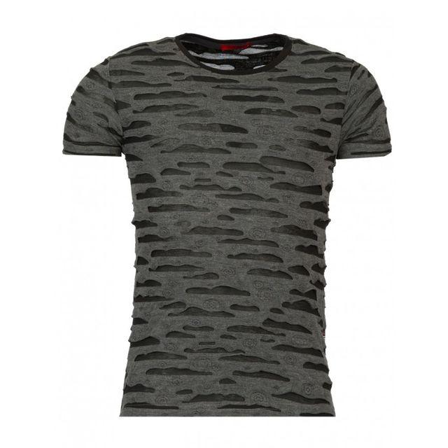 358bee3f6d21 Beststyle - T-shirt homme troué noir - pas cher Achat   Vente Tee ...