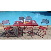 Finlandek Ensemble table de jardin 120 + 4 chaises rouge - Hieno