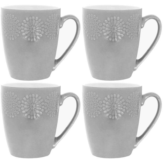 Promobo Lot De 4 Mug Tasse A Cafe Design Fleur En Relief