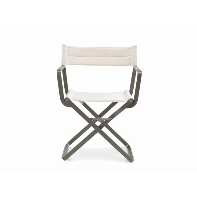 Ethimo Chaise de metteur en scène Studios - Aluminium blanc crème - gris nature