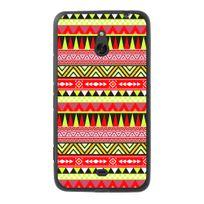 Kabiloo - Coque Souple en gel noir pour Nokia Lumia 1320 avec impression Motifs aztèque jaune et rouge
