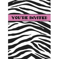 Unique Party - Invitations De FÊTE ZÈBRE LOT De 8