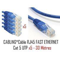 Cabling - Lot de 5 câbles réseau catégorie 5 Utp avec 2 fiches Rj45 30m Bleu