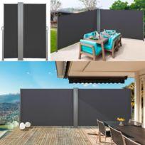 Idmarket - Paravent extérieur rétractable double 600x140 cm gris store vertical