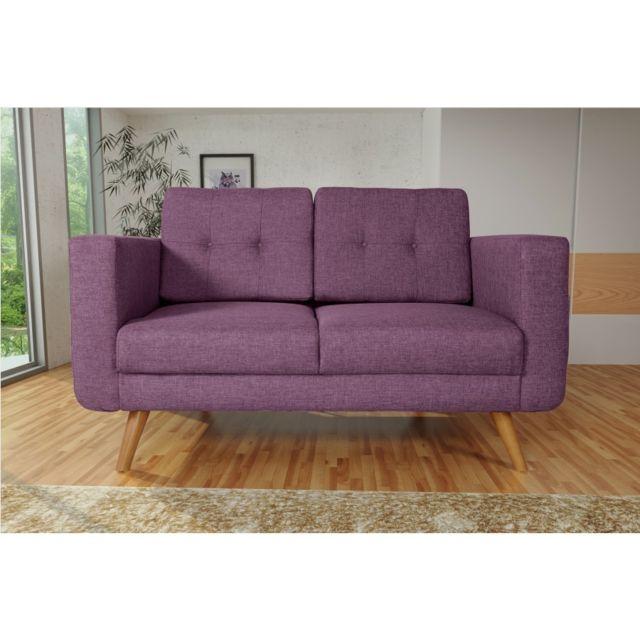 Rocambolesk Canapé Hedvig 2 savana 70 prune pieds naturels sofa divan