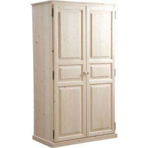 aubry gaspard armoire bois brut 2 portes finition brute 100cm x 180cm x 56cm pas cher. Black Bedroom Furniture Sets. Home Design Ideas