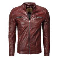 Freeside - Veste cuir coupe ajustée Veste homme 1004 rouge