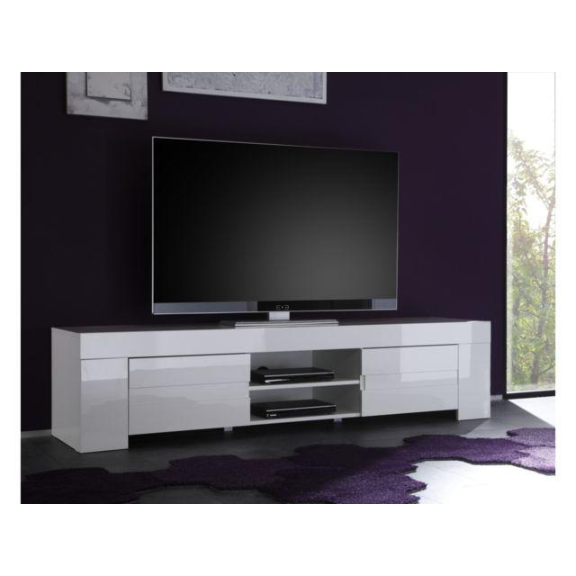 Subleem Base Tv grand avec deux portes Sellero blanc laqué brillant