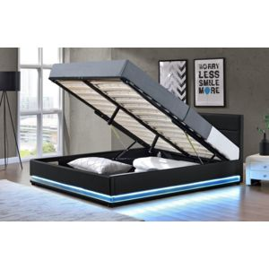 fournier decoration jupiter lit coffre pu noir a led. Black Bedroom Furniture Sets. Home Design Ideas