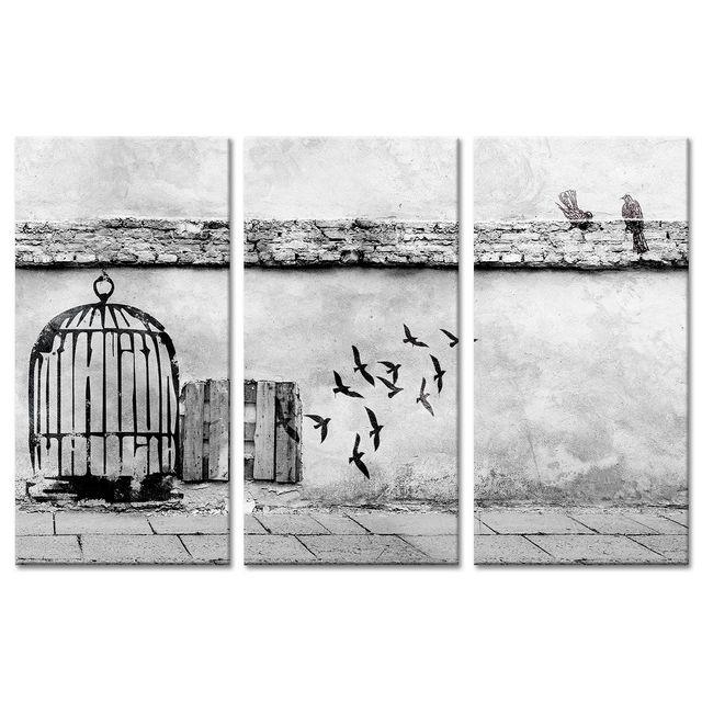declina - tableau toile triptyque urbain vol des oiseaux - pas cher