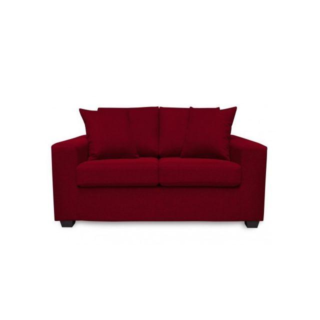 Canapé 2 places en tissu YUDO - Rouge