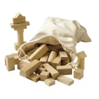 Educo - jeu de contruction en bois brut - lot de 100 blocs