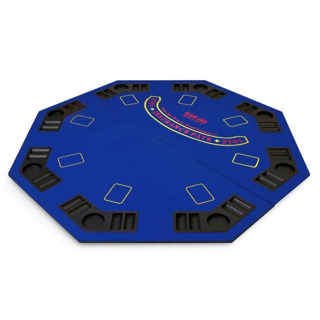 Pokeo Plateau de poker octogonal 8 joueurs bleu
