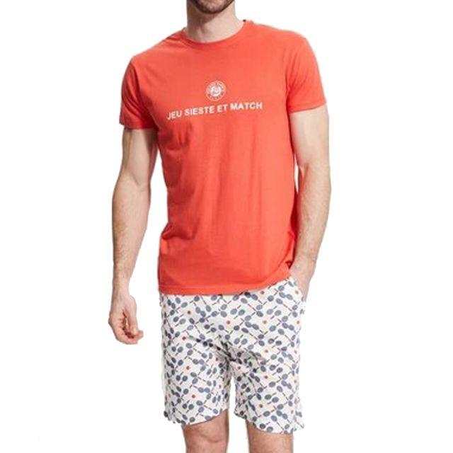Arthur Pyjama court Paul en coton : tee-shirt col rond orange floqué et short blanc à motifs raquette de tennis
