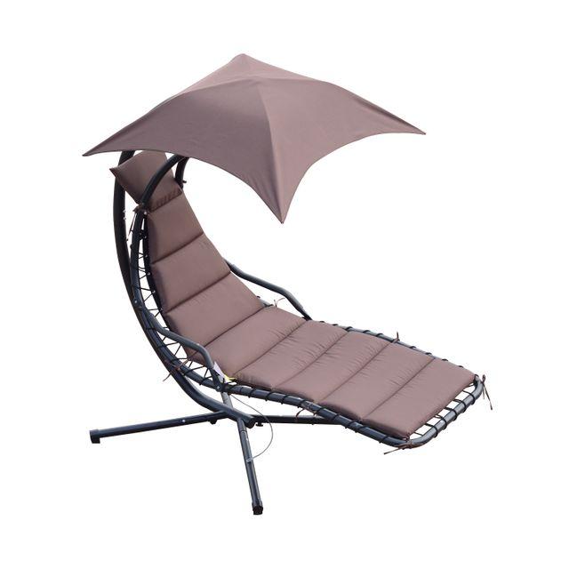 outsunny bain de soleil transat suspendu avec pare. Black Bedroom Furniture Sets. Home Design Ideas