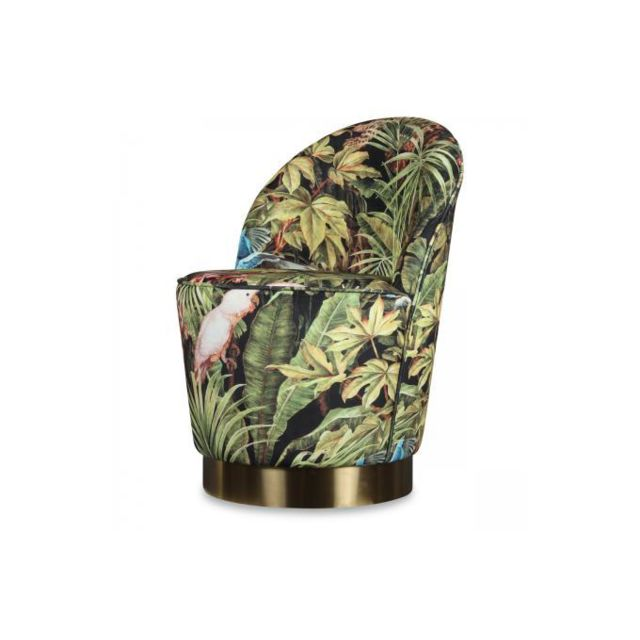 Declikdeco Fauteuil Velours Design Jungle Adamo