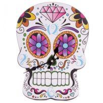 Sans Marque - Horloge ou Pendule découpée Crâne Jour Des Morts Mexicain Billingham