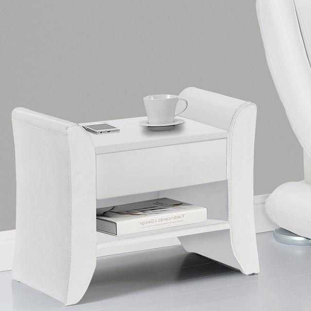 concept usine linden blanc table de chevet en simili blanc avec 1 tiroir et - Table De Nuit Etagere